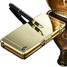 Vandot Premium Funda Aluminio para Sony Xperia M4 Aqua Bumper Case del Metal Ultra Thin Espejo Efecto [Fusion Mirror] Trasero Case Cover Protección [Resistente a Arañazos] y [Choque Absorcion] Carcasa caso-Oro