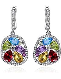 TJC Women Platinum Plated Sterling Silver Opal, Rhodolite Garnet, Chinese Peridot, Citrine, Amethyst and Sky Blue Topaz Drop Dangle Earrings