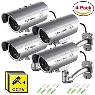 Dummy Kamera Gefälschte Monitor Wachungskamera Virtuelle Kamera mit Wettergeschütztes Aluminiumgehäuse für Den Außen- und Innenbereich (4Pack)