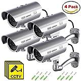 Telecamera Finta (4 Pezzi) Videocamere di Sorveglianza Dummy Camera con LED lampeggiante IR Simulazione Telecamera Realistico finte CCTV Impermeabile per interno, esterno