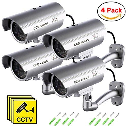 Virtuelle Kamera (Maxesla Dummy Kamera 4PCS Gefälschte Monitor Wachungskamera Virtuelle Kamera mit Wettergeschütztes Aluminiumgehäuse für Den Außen- und Innenbereich)