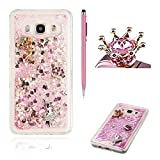 Samsung J510 J5(2016) case Glitter Cover ,SKYXD Novelty Creative Design Flowing Liquid Floating [ Pink - Angel ] Crystal Clear Glitter Bling Sparkle Shinny Soft TPU Gel Rubber Back Protection Case Cover For Samsung J510 J5(2016) +Pink Stylus +Pink Crown Dust Plug