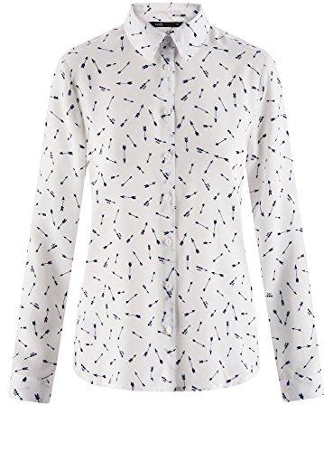 oodji Ultra Damen Gerade Geschnittene Viskose-Bluse Weiß (3079G)