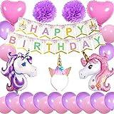 Cebelle Einhorn Geburtstags party-Dekoration, astgeschenk-Packung Einhorn-Stirnband Happy Birthday Banner 2 große Einhorn-Luftballons 2Herzballons 2 Bommelblumen 20 Latex-Luftballons