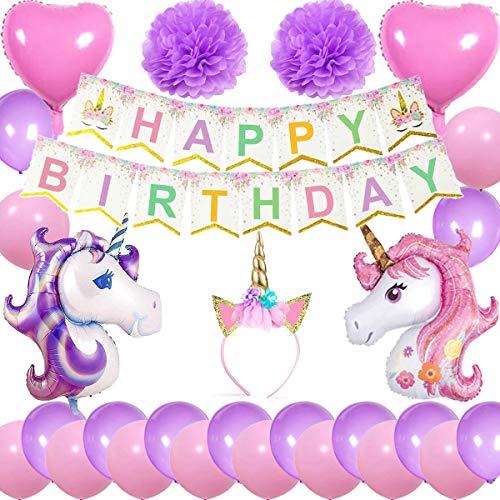 Cebelle unicorno decorazioni feste compleanno rosa porpora, corno unicorno banner happy birthday 2 enormi unicorno 2 palloncini cuore 2 fiori pom pom 20 palloncini regalo per ragazze donne