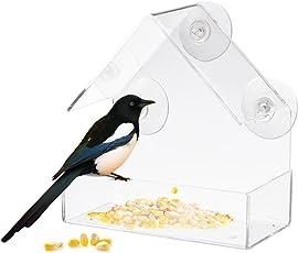 iBaste Fenster-Vogelfutterstation Fenster Vogelhaus Futterstation tranparent