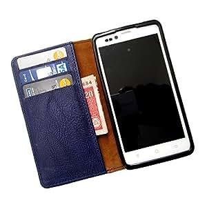 i-KitPit PU Leather Wallet Flip Case For HTC One M7 (NAVY BLUE)