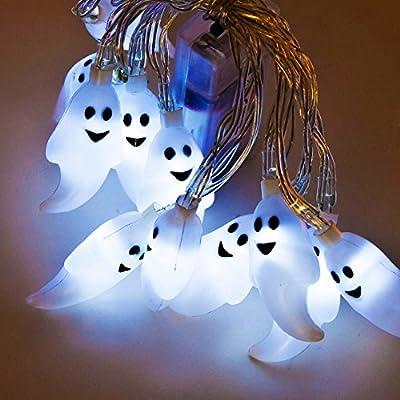 LED Halloween Lichterkette Gespenst 12 LEDs 165 cm Batterie. Kein Stromanschluß notwendig