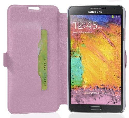 Preisvergleich Produktbild Cadorabo Hülle für Samsung Galaxy NOTE 3 - Hülle in ICY ROSE – Handyhülle mit Standfunktion und Kartenfach im Ultra Slim Design - Case Cover Schutzhülle Etui Tasche Book