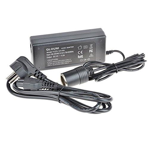 Rectificador de potencia Deallink Adaptador alimentación Transformador tensión Convertidor voltaje 100 - 240 Voltios en 12 6 Amperios (72 Vatios) Enfriador Cargador Móvil AC/DC negro