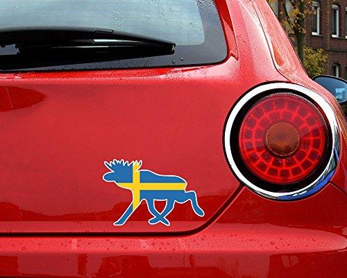 Elch Aufkleber Elchhirsche Schweden Flagge Nationalfarben in 8 Größen (20x13cm )