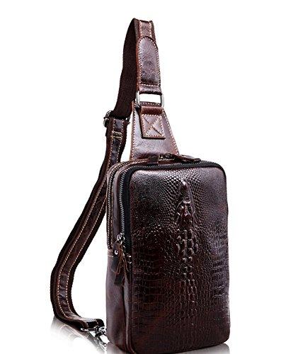 Everdoss Herren echt Leder Bauchtasche Chest Pack Gürteltasche casual Schultertasche Messenger Bag Crossbody mit Krokodil Muster Kaffee