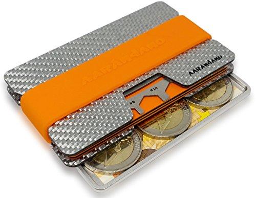 AARÁNDANO TM FIBERGLAS slim-wallet mit CoinCard - Kreditkartenetui mit Münzfach und Geldklammer - RFID/NFC - Schutz Etui - 4 Bänder und MultiTool inklusive - 2x Ultra Flüssig