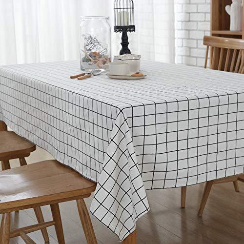 DOTBUY Tischdecke Garten, Weihnachten Gitter abwaschbar Tischtuch Leinentischdecke Pflegeleicht Fleckschutz Farbe & Größe wählbar - Quadratische Weiße Leinen Tischdecke