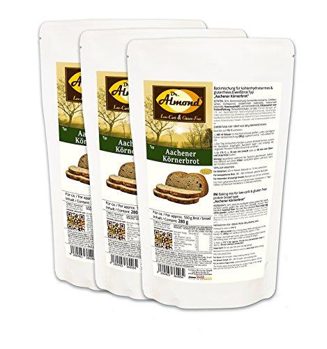 Dr. Almond Paleo Backmischung AACHENER KÖRNERBROT low-carb glutenfrei sojafrei (3er Pack)