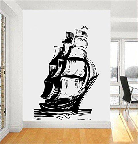 Nautical Home Decor Vintage Schiff SailBoat Wandtattoos Segel Ozean Marine Meereswellen Vinyl Aufkleber Wohnzimmer Interieur Wandbild 57X82CM Bass Camouflage Cap