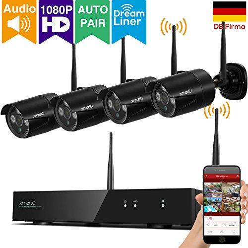[Mikrofon unterstützt]xmartO WPS2044 schwarz kabellos Videoüberwachung set, 4 Kanal 4 Kamera 1080p HD Innen/Außen IP funk WiFi wetterfest (Nachtsicht Bewegungserkennung Plug&Play App) (3 X Funk-kamera)