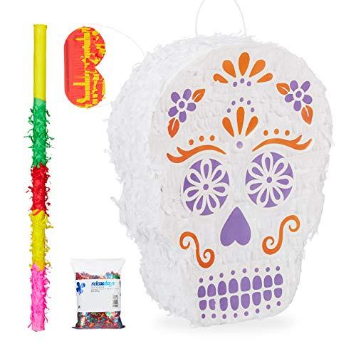 Relaxdays 4 TLG. Pinata Set Totenkopf, XXL Konfetti Sack, Pinatastab mit Augenmaske, Piñata Skull, Pinatastock & Augenbinde, bunt (Halloween Sack Maske,)
