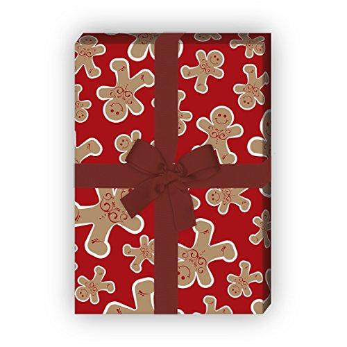 Leckeres Weihnachtspapier/Geschenkpapier zu Weihnachten mit fröhlichen Lebkuchen Männern, rot, für tolle Geschenk Verpackung und Überraschungen (4 Bogen, 32 x 48cm)