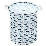 Cuscino pieghevole multifunzionale Organizzazione dei cestini di cesta di lavanderia, HomeYoo Cestino pieghevole per la stampa in lamiera di lavaggio con maniglie per i giocattoli di abbigliamento (C-Balena Blu)