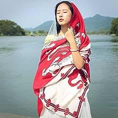 SAIBANGZI Viento Nacional Bufanda Femenina Primavera y Verano Pañuelos de Impresión de Gran Mantón Chal y