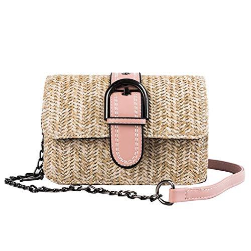 Auppy Damen Umhängetasche für den Sommer, Strand, Strohhalm, geflochten, Strandtasche Gr. One size, hot pink