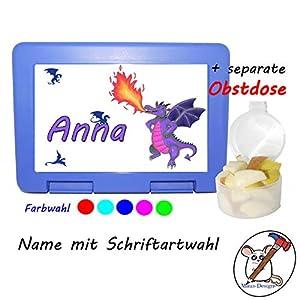 Kinder Brotdose mit Drachen Motiv und Name/Lunchbox für Kinder mit Name/lila Drache/Farbwahl Brotbox + Schriftwahl für Name