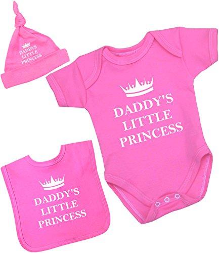 BabyPrem Baby Body Lätzchen Hut Set Kleidung 'Daddy's Little Princess' Mädchen 56-62cm ROSA - Popover-set