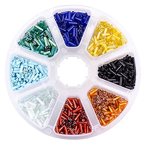 PandaHall Elite- 1 boite/Environ 3000pcs Mixte Bugle Perles de verre Argente Lined Multicolore 1.8mm de large, 6mm long, trou: