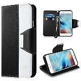 Vakoo Bookstyle Ledertasche für Apple iPhone 6 Plus 6s Plus Tasche weiss schwarz