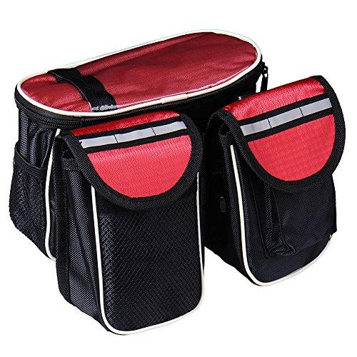 MING 3in 1Seeschwalbe Fahrrad vorne Top Tube Gepäckträgertasche mit Handy Tasche Wasserdicht (schwarz, rot, blau) rot - rot