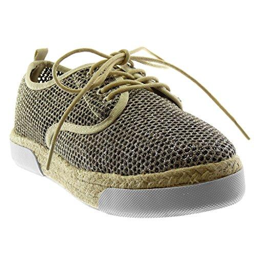 Angkorly Damen Schuhe Espadrilles Derby-Schuh - Sneaker Sohle - Plateauschuhe - Perforiert - Glitzer - Seil Flache Ferse 3 cm - Gold LTP157A-1 T 41 (Derby Seil)
