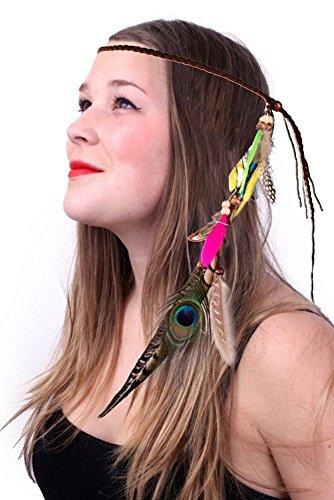 shoperama Ibiza Stirnband mit Federn Haarschmuck Haarband für Indianerin-Kostüm Hippie-Mädchen