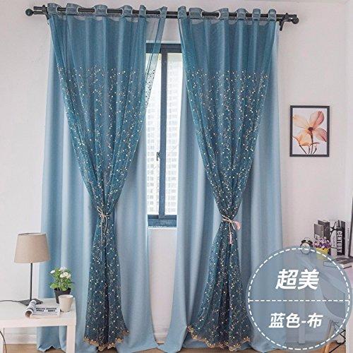 Qpggp- curtain tende semplice fresco giardino fiore ricami garza ombra tende da salotto finestre e schermi,g,150 x 270 cm (w x h) x 2,