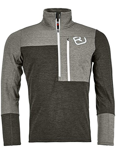 Ortovox Herren Fleece Light Zip Neck Shirt, Grey Blend, M -