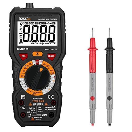 elektro pruefgeraet Digital Multimeter, Tacklife DM01M Advanced Multimeter mit 6000 Counts, True RMS, Temperaturmessung, Außenleiter-Identifizierung, Durchgangsprüfung, Hintergrundbeleuchtung