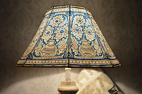 Mandala Pot Lampenschirm groß | Sea-Blue Handgemaltes Leder Lampenschirm | Unique Pattern Stehleuchte Schatten - 8 Faced Shade - H-9.5, W-16 Zoll -