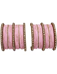 Bollywood Traditional Antique Gold Plated Kada Made Gorgeous Baby Pink Color Bangle Bracelet Set For Women & Girl...