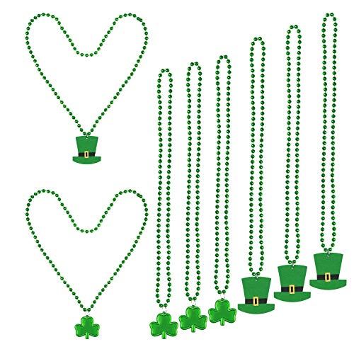 ZERHOK St. Patrick's Day Shamrock Halskette, 8 Stück grüne Perlen Halskette mit grünem Hut und Klee für irische Party Supplies St. Patrick's Day Dekoration (Patricks Party St Day)