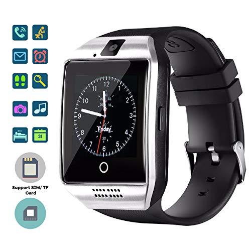 TagoBee TB02 Bluetooth Smart Uhr mit SIM-Kartensteckplatz Kamera HD Screen Touch-Unterstützung Whatsapp Facebook Benachrichtigung Kompatibel mit Allen Android-Handys und iPhone (Teilfunktion) Silber Touch-screen-kameras
