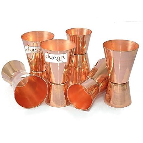 Dungri India Craft ® (Set of 6) Jigger en verre de verre de cuivre pur - 30 ml (1 Oz) et 60 ml (2 Oz) - Coupe de mesure à double mesure, verres à double face, Cocktail Cocktail