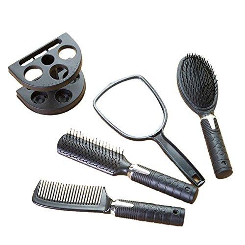 Set 5 Peigne Plastique Noir Antistatique pour Salon Coiffure Barbier Cheveux