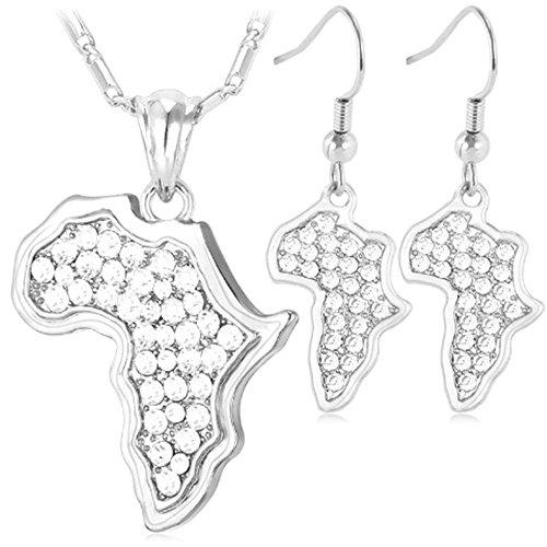 MESE London Afrika Karte Halskette und Ohrringe Set Versilbert in Luxus Geschenkbox