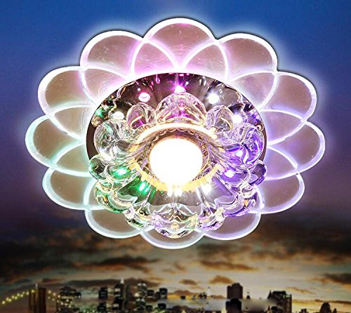 GRFH Farbe führte Kristall Deckenleuchte Korridor Deckenleuchte Breite 20Cm * Hohe 3,5Cm 5W bunte Lichter Bar Korridor dekorative Beleuchtung