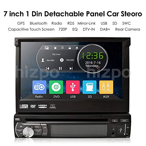 hizpo Wince Universal Head unit Single Din Car Stereo GPS sat nav DVD Player 7 inch In Dash support GPS/Navi/USB/SD/Subwoofer output/Cam-in/Bluetooth/Steering Wheel Control Function/FM/AM Radio
