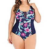 JURTEE 2019 Sommer Badeanzug Damen Bauchweg,Große Größen Gepolsterter Monokini Push Up Beachwear Swimwear Bikini Damen Set Push Up(XX-Large,Dunkelblau)