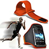 ( Orange 143.7 x 71.9) Medion Life X5004 case High Quality Fitted Sports Armbands Running Bike Cycling Gym Jogging Ridding Arm Band case cover by i-Tronixs