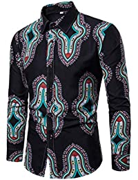 Qiusa Herren Shirts Langarm Casual Top, afrikanische 3D-Muster  Personalisierte Rockabilly Slim Fit Style 405d490991