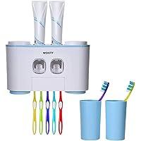 Wekity Support Brosses à Dents Mural Multifonction,Enfants et Adultes 2 Distributeurs Automatiques de Dentifrice, 5…