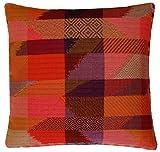 LORENZO CANA Home Edition Luxus Kissenhülle handgewebt mehrfarbig 100% Baumwolle Kissenbezug Zierkissen Zierkissenbezug Kissen Sofakissen Pink Rot Orange Violett 96124